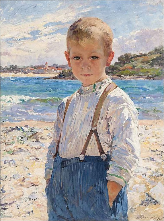 a boy on the beach-Marie Aimée Lucas-Robiquet (French, 1858-1959)