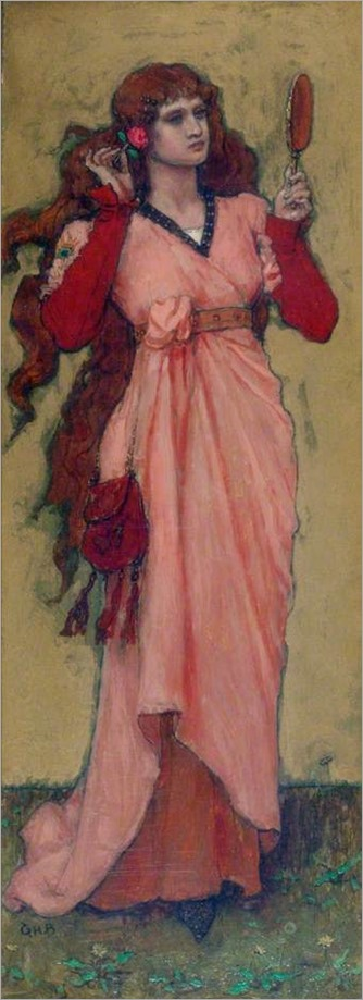 A Girl Holding a Mirror and a Rose -1890- George Henry Boughton (anglo-american painter)