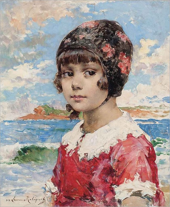 a girl on the beach-Marie Aimée Lucas-Robiquet