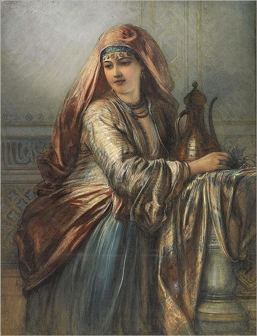 Egron Sillif Lundgren - Palace Interior with Oriental Woman
