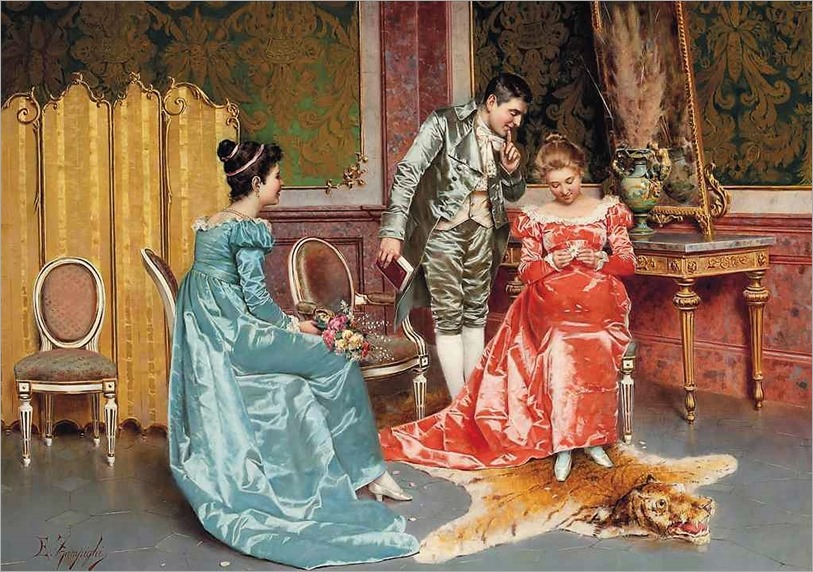 Eugenio Edoardo Zampighi (1855 - 1944) - He loves me, he loves me not