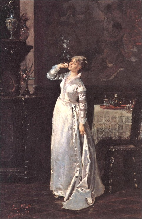 Eugenio Prati (italian, 1842-1907) - Donna che fuma