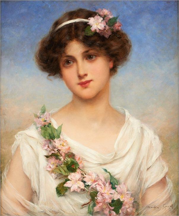 François Martin Kavel (French, 1861-1931) Jeune fille à la banderole de fleurs