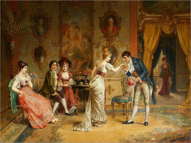 Franz von Persoglia_Gallant Scene in the Rococo Interior