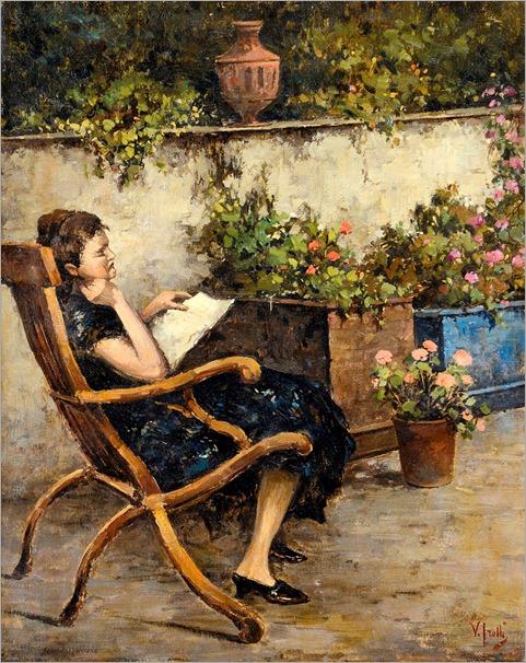 Irolli, Vincenzo (1860-1942) Giardino con ragazza in lettura
