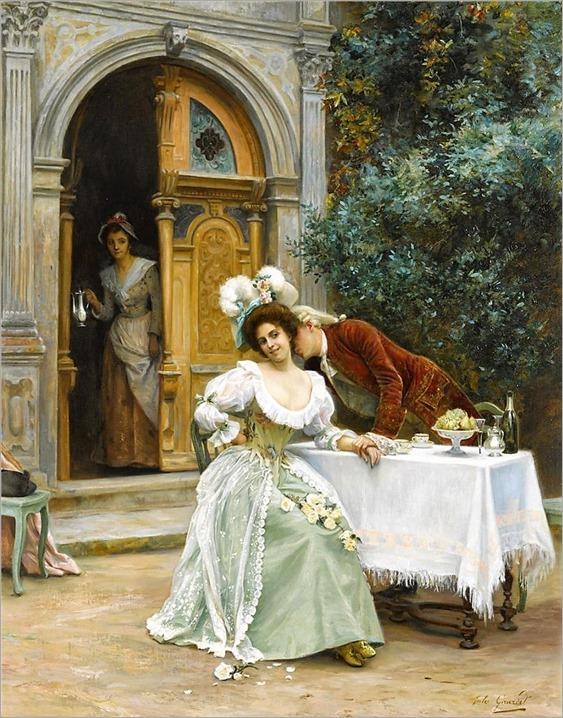 Jules Girardet (French, 1856-1938) A garden flirtation