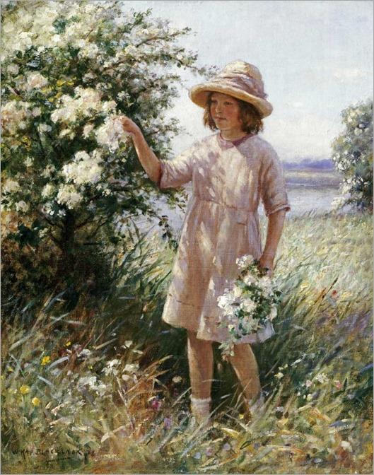 Picking May Blossom - William Kay Blacklock