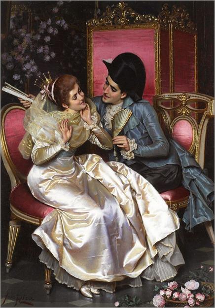 Pio Ricci (Italian, 1850-1919)A flirtatious moment