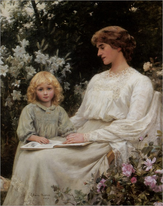 Portrait-of-a-mother-and-daughter-reading-a-book-Edwin-Harris (british)