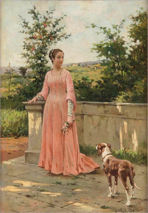 Raffaello Sorbi (1844-1931), Giovane fanciulla con cane
