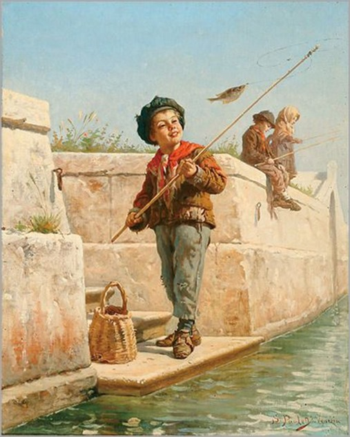 Sylvius D. Paoletti (1864-1921, Italian)- The fisher boy