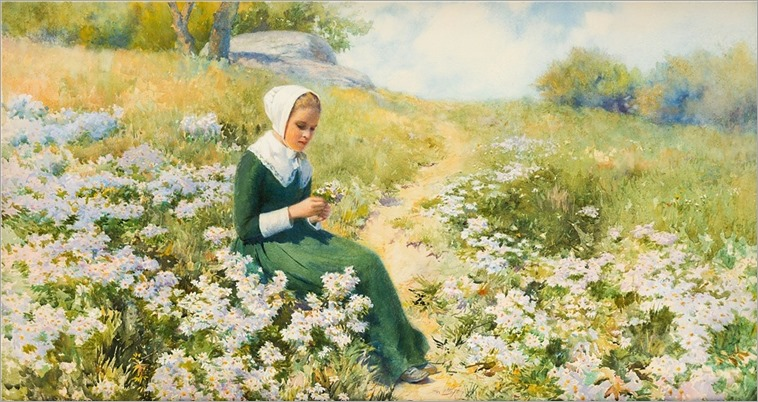 William John Whittemore (American, 1860-1955) Gathering Wildflowers
