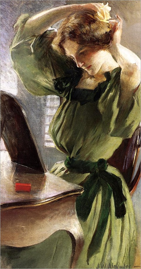 Young Woman Arranging Her Hair - John White Alexander (american)