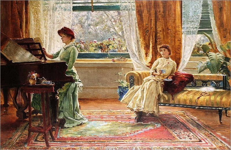 Arthur Trevor Haddon (British, 1864-1941) - An elegant interior (2)