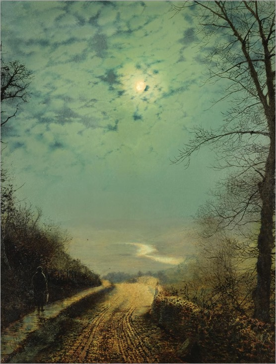 Atkinson Grimshaw - A Wet Road by Moonlight, Wharfedale