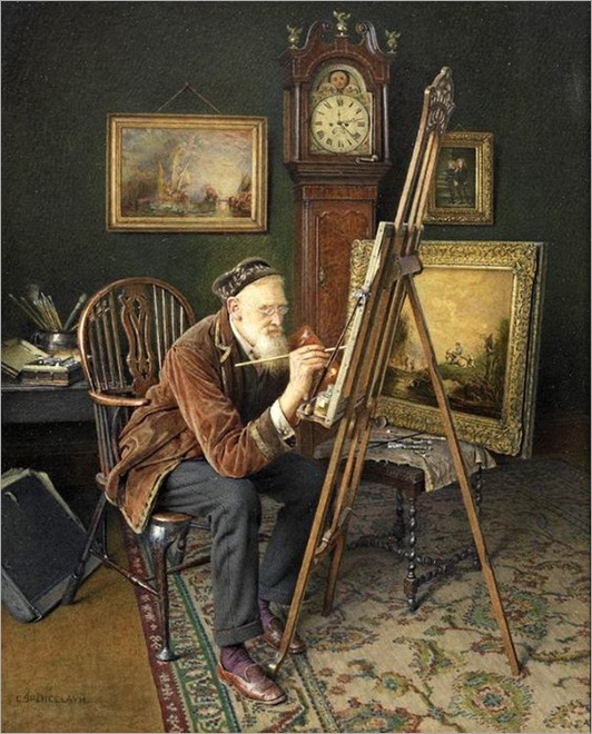 charles spencelayh english, 1865-1958-the old copyist