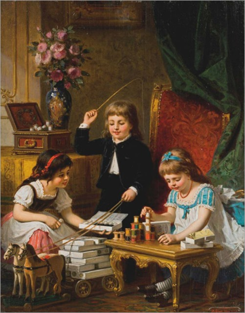 children at play-1878-ANTON EBERT(German, 1845-1896)