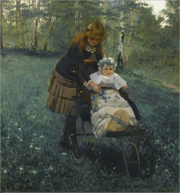 Collecting Bluebells - Albert Raudnitz (german painter-19th century)