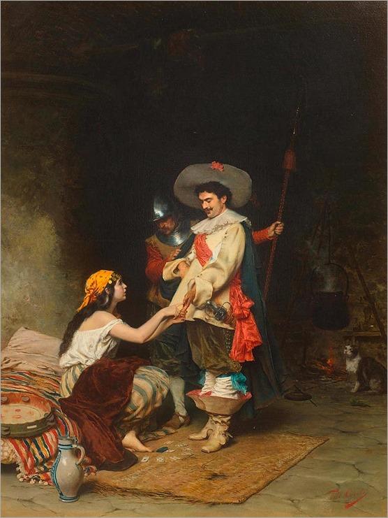 CONTI, TITO(1842 Florence 1924)Gypsy girl with nobleman. Circa 1880