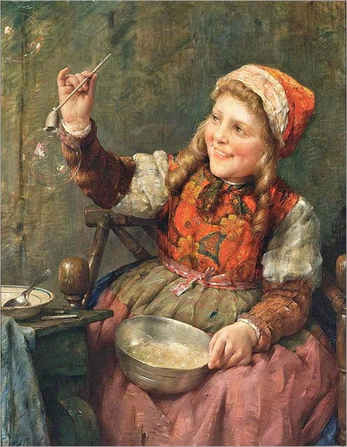 Edward Antoon Portielje (Belgian, 1861-1949)-Blowing Bubbles