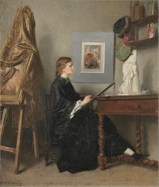 Female Artist at Work in Her Studio ~ Eugène Accard