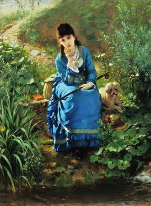 Friedrich Peter Hiddeman (German painter, 1829-1892). By the Pond