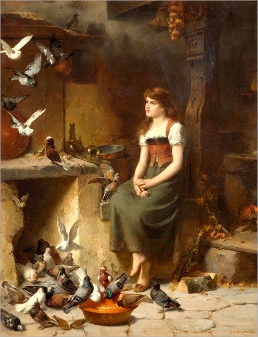 Friedrich Peter Hiddemann. Die Taubenfütterin. 1882