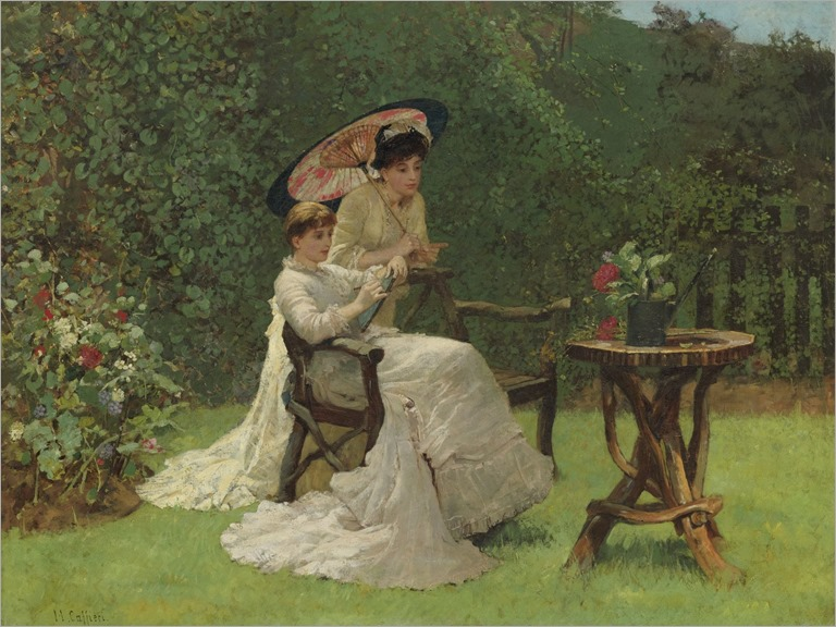 HECTOR CAFFIERI (british, 1847 - 1932) - TWO WOMEN IN A GARDEN