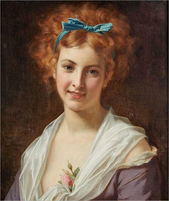 HUGUES MERLE, (FRENCH 1823-1881), WOMAN WITH BLUE BOW