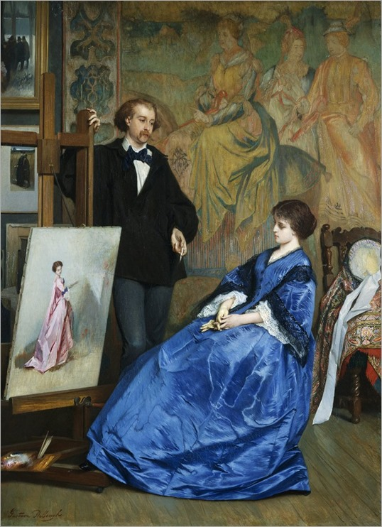 In the Artist's Studio by Gustave Leonhard de Jonghe