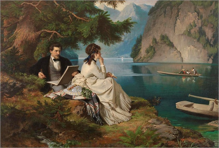 Leisure Time by the Konigssee -1874- Ludwig Thiersch (german painter)