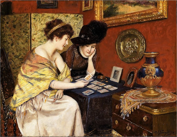 PAUL SPANGENBERG (1843-1918) - What Do the Cards Say, 1911