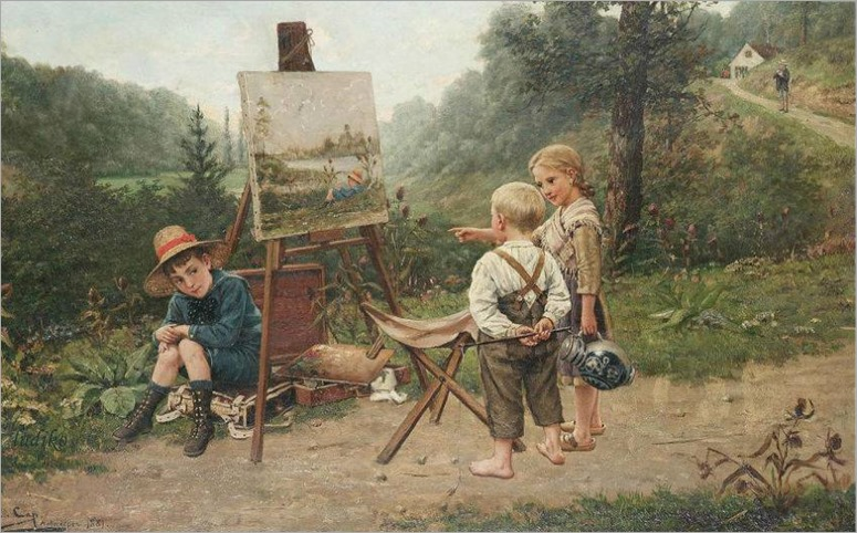 The young critics-Constant-Aime-Marie Cap (Belgian, 1842-1915)