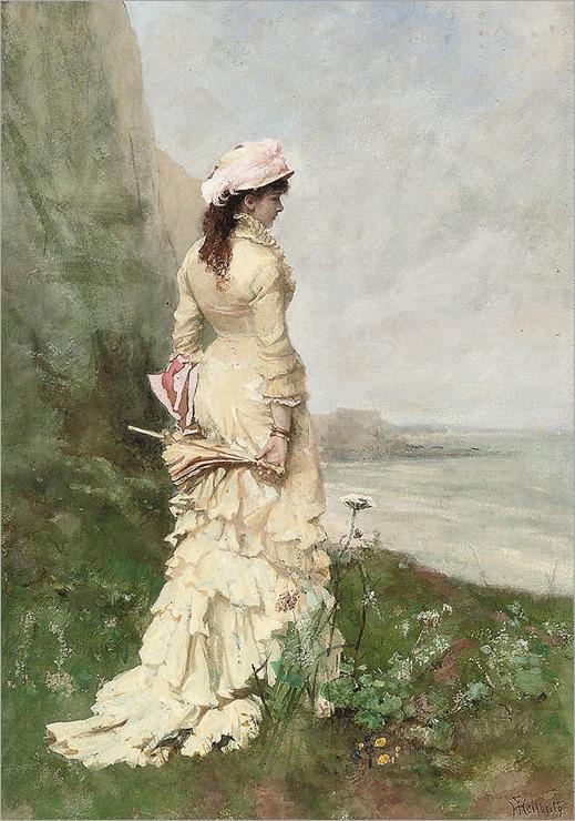 an-elegant-lady-by-the-sea-ferdinand-heilbuth