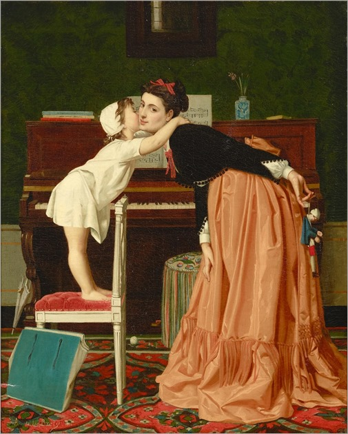 Auguste de la Brely (1838-1906) First a kiss. 1864
