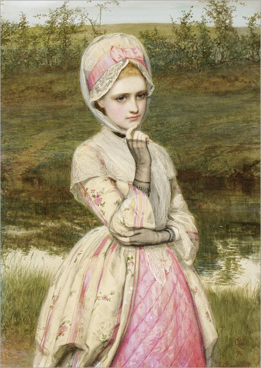 charles s lidderdale (british, 1831-1895)-the girl in pink dress