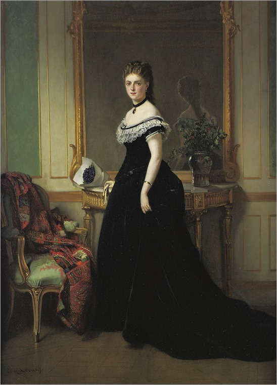 Eugene Accard (french, 1824-1888) - portrait of a lady in a black velvet dress