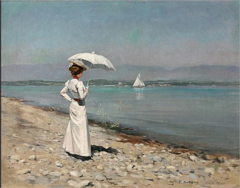 Frédéric DUFAUX (1852 1943) Elégante à l'ombrelle en bord de lac, 1900