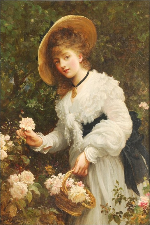 gathering flowers by Samuel Luke Fildes (1843-1927)