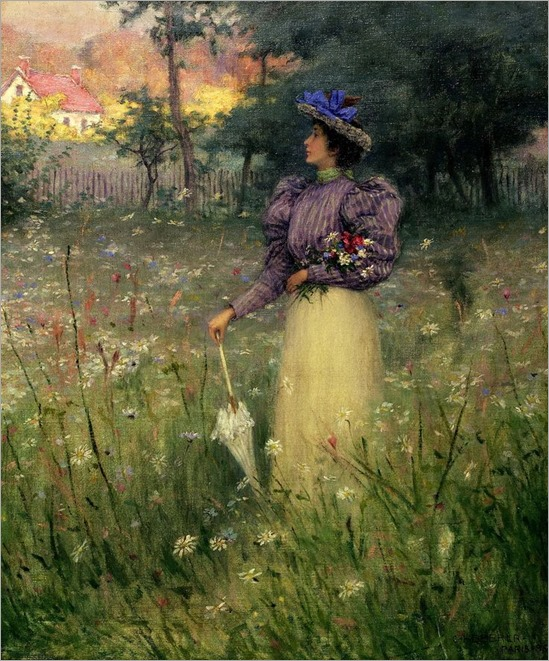 Gathering Wildflowers - 1895 -Charles Heberer (american painter)