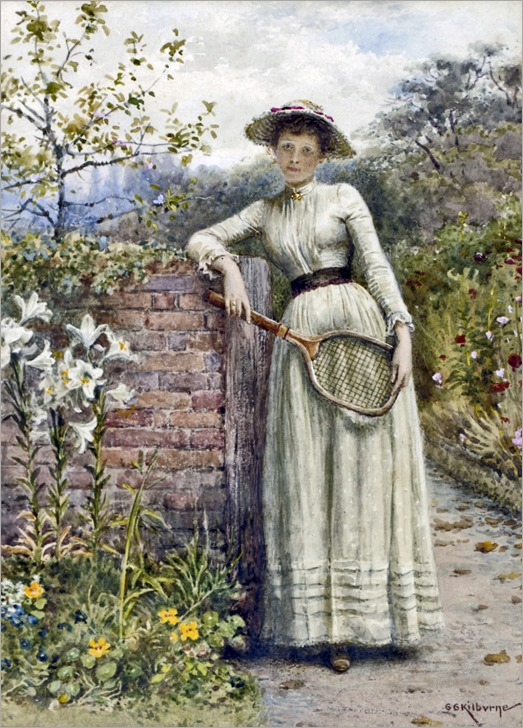 George Goodwin Kilburne - Young Lady with a Tennis Racquet