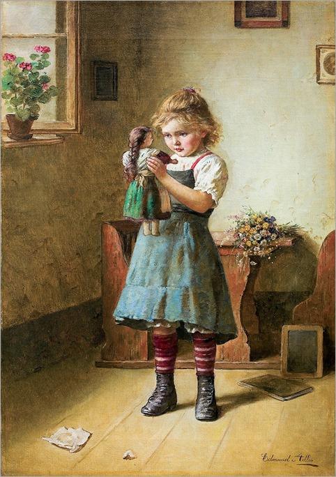 girl with a doll-Edmund Adler (Austrian, 1876–1965)