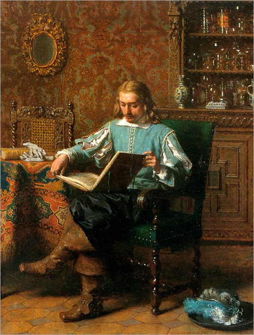 LambertusLingeman_a_cavalrist_reading_in_a_17th_century_interior(1829-1894)