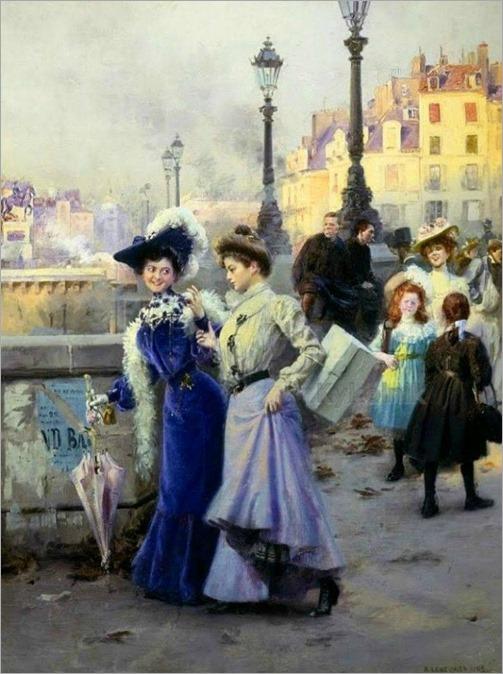 Shopping-in-Paris-Basile-Lemeunier-french, 1852-1922