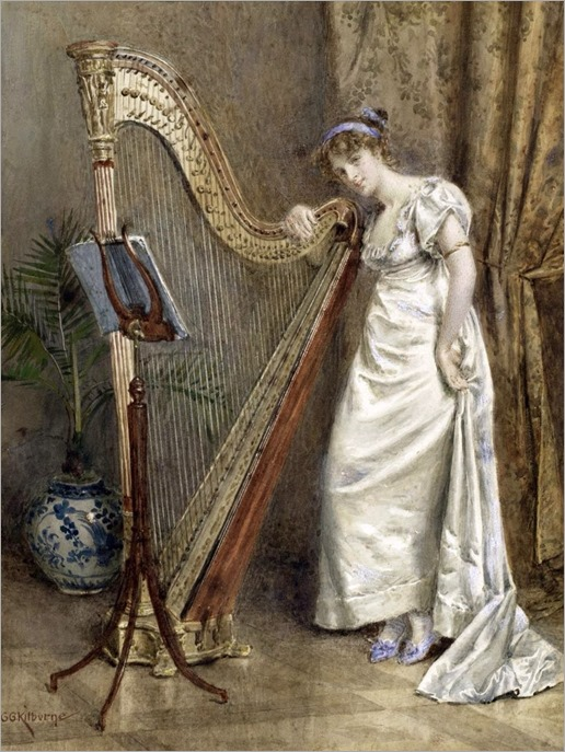 the harpist-George Goodwin Kilburne (british,1839-1924)