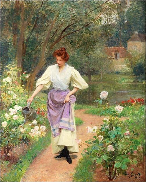 Victor-Gabriel Gilbert (1847-1933) Watering the garden. 1899
