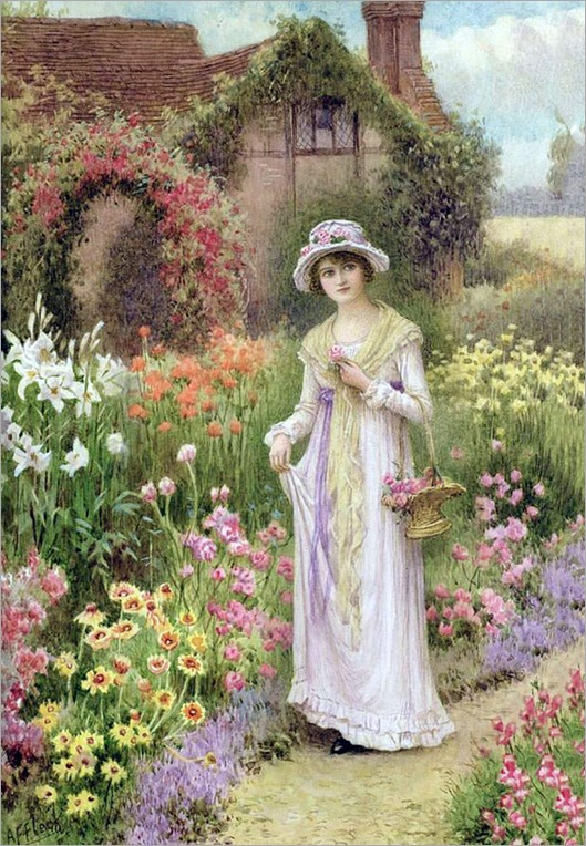 William Affleck(British, 1869–1943)-a cottage garden