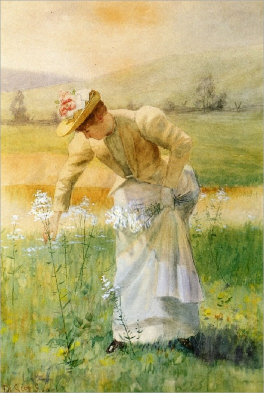 woman picking flowers-DE SCOTT EVANS (AMERICAN, 1847-1898)