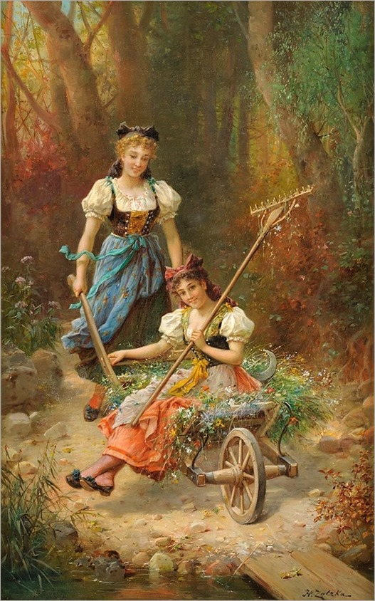 Hans Zatzka (1852-1945) Two hibsche teachers