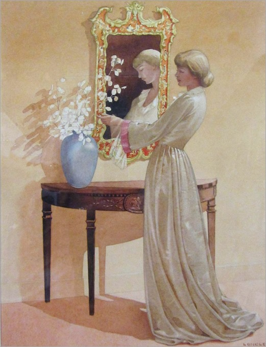 Stanislaus Soutten Longley (1894-1966, british)-young woman arranging flowers